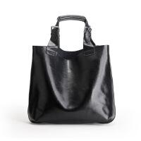 春夏新款真皮女包欧美时尚大容量牛皮子母包购物袋单肩手提大包包 黑色