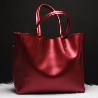 2018新品欧美时尚真皮女包女牛皮包包大容量手提包一件 酒红色