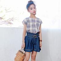 韩版女童牛仔薄短裤微喇阔腿裤夏装宽松外穿裤子显瘦儿童热裤