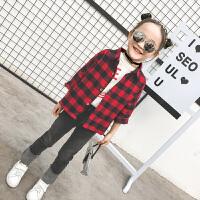 女童衬衫2018年春季新款童装韩版时尚上衣宝宝长袖儿童格子衬衣