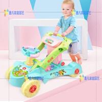 宝宝学步车手推婴儿童多功能学走路助步车防侧翻7-18个月男女孩6 小羊两用学步车 浅蓝色