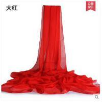 新款杭州百搭真丝丝巾丝绸超大长款纯色桑蚕丝围巾女 可礼品卡支付