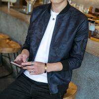 秋季新款迷彩夹克男式时尚暗纹PU皮衣男装韩版皮夹克男士外套
