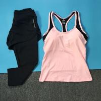瑜伽服跳操服弹力修身背心带胸垫跑步运动健身服女上衣
