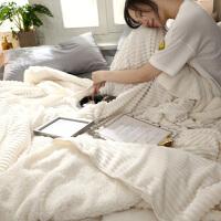 北欧纯色毛毯双层法莱绒毯午休毯双人保暖加厚珊瑚绒沙发毯子单人