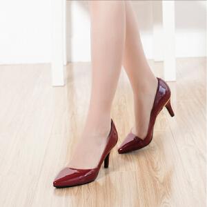 Daphne/达芙妮欧美漆皮尖头优雅浅口单鞋细高跟鞋