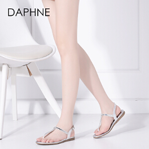 Daphne/达芙妮夏季夹趾 平底休闲夹脚环扣凉鞋女