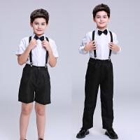 儿童演出服男童小主持人礼服衬衫背带裤合唱团朗诵钢琴比赛演出服