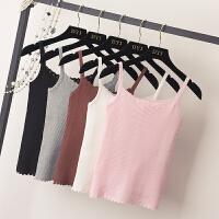 2018春季新款韩版白色短款针织吊带小背心女修身无袖打底衫上衣