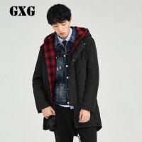 【3】GXG男装联名款 男士经典时尚黑色棉风衣#174808001