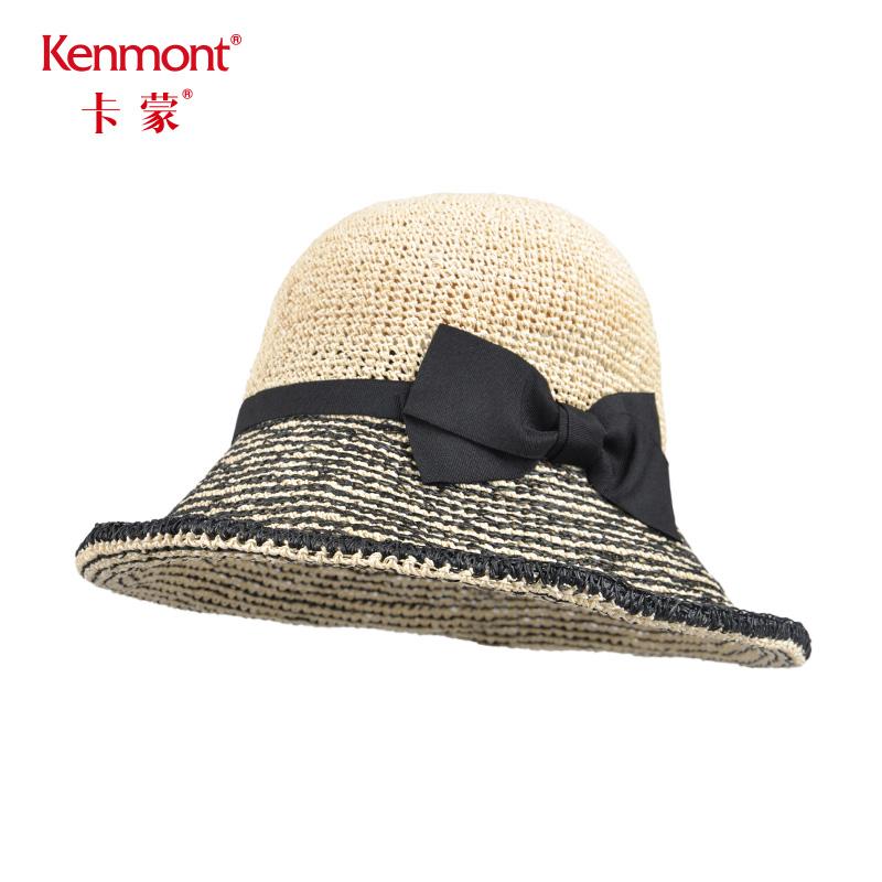 卡蒙凉帽编织大草帽女士夏天防晒大沿遮阳帽出游海边小清新沙滩帽3315