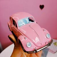 ins粉色迷你老爷车小汽车桌面摆件儿童创意玩具少女心房间装饰物 粉色