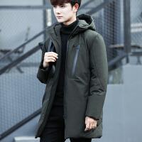 棉衣男士外套韩版修身加厚棉袄2017冬季新款连帽中长款潮男装