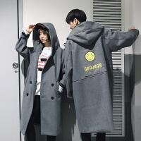 @文艺男女男士冬季新款韩版潮流中长款毛呢大衣情侣加厚毛呢外套 灰色