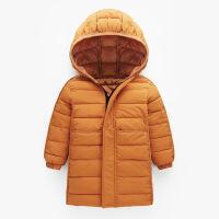 秋冬新款儿童中大童中长款轻薄款羽绒服棉衣男童女童连帽棉外套
