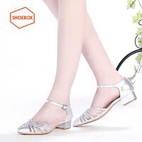 达芙妮旗下SHOEBOX/鞋柜尖头低跟性感时尚水钻粗跟单鞋