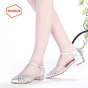 达芙妮集团 鞋柜尖头低跟性感时尚水钻粗跟单鞋