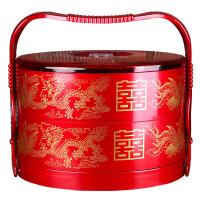 婚庆用品 结婚嫁妆新娘陪嫁双层手提盒子饺子盘糕点食盒果盘 双层手提盒1个