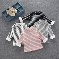 秋冬款韩版女童条纹加绒打底衫黑白小童宝宝高领加厚上衣1-23-5岁