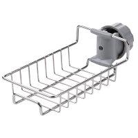 {夏季贱卖}厨房收纳神器不锈钢水龙头置物架挂篮海绵沥水架水槽收纳架抹布架 1层