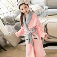 秋冬季中大童装浴袍法兰绒粉色可爱公主儿童家居服女童珊瑚绒睡袍 浅粉红色