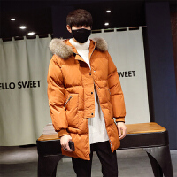 秋冬新款男士中长款外套潮韩版加厚棉衣男青年学生帅气男