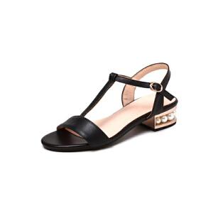 ELEISE美国艾蕾莎新品020-A54欧美超纤皮低跟女士凉鞋