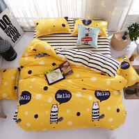床上三件套棉床单三件套1.8/2.0m床简约学生宿舍单人男生女生 明黄色 地鼠 2.2床 被套220*240+床单1+