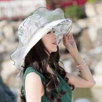 帽子女户外防晒时尚百搭遮脸沙滩帽海边太阳帽大檐女士凉帽