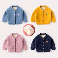 婴儿冬季加绒外套女童针织开衫秋冬宝宝洋气上衣冬装