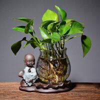 玻璃花瓶水培绿萝简约创意水培植物花盆透明风信子 观音竹插花瓶 金箍大圣 束腰瓶 中等
