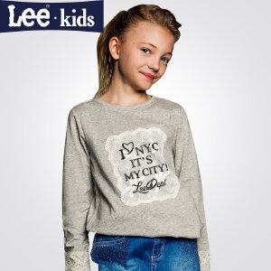 LEE童装 秋季新品女童时尚休闲百搭上衣 儿童圆领长袖T恤