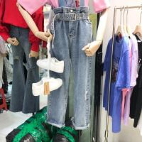 韩国ulzzang2018春装新款宽松磨破洞高腰牛仔裤女蓝色直筒长裤潮