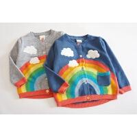 雨后彩虹 糖果色小纽扣 18年春款 女童柔软彩虹毛线刺绣针织衫