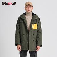 潮牌GLEMALL【加棉加厚】亮色拼接口袋宽松连帽中长款风衣工装外套男