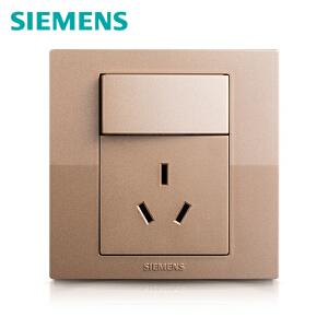 西门子开关开关面板西门子悦动系列香槟金色一开10A三孔电源插座