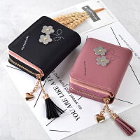 韩版两折拉链短款潮女式钱包百搭个性流苏学生零钱夹新款手拿卡包