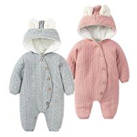 婴儿连体衣服0岁3个月9新生儿2宝宝秋冬装爬服男女可爱哈衣外出服