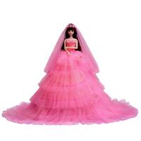 洋娃娃夜萝莉套装大礼盒女孩公主婚纱白雪巴比玩具超大90厘米 换装款 高度45cm,裙摆直径90cm