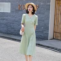 连衣裙2019新款夏收腰显瘦气质法式仙女超仙牛油果绿甜美网红裙子