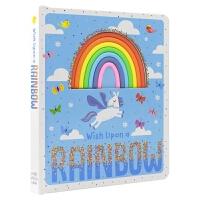 【首页抢券300-100】Wish Upon a Rainbow 向彩虹许愿 正能量儿童英文启蒙触摸书 押韵文本 亮片毛