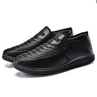 畅印 2017秋冬季新款pu保暖棉鞋男士套脚棉鞋中老年爸爸雪地靴一件jyl 黑色 39