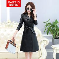 EASZin逸纯印品 女装皮风衣 2018秋冬季新款水洗皮衣外套 双排扣西装领带腰带