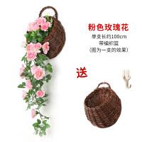 壁挂花仿真玫瑰客厅绿植物装饰垂吊假花藤条室内塑料藤蔓吊兰吊篮