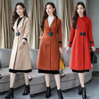 毛呢外套女中长款韩版秋冬新款女装简约气质修身显瘦呢子大衣