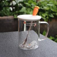 创意韩国卡通兔子耐高温带把玻璃杯男女生早餐牛奶咖啡泡茶喝水杯