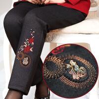 妈妈裤子加绒加厚秋冬外穿高腰40中年女裤打底老年人50岁宽松婆婆