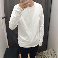 韩观男士白色长袖T恤棉圆领纯白男女大码宽松修身男装秋冬衣打底衫 白色 长袖 M 长袖