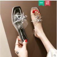 系带透明拖鞋女新款韩版外穿时尚洋气款粗跟一字拖潮