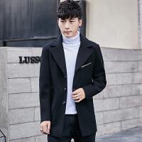 男士中长款呢料风衣秋冬季韩版修身款妮子外套毛呢大衣男装潮